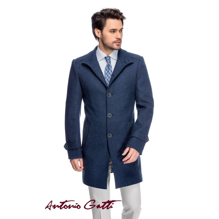 Palton Bărbați Antonio Gatti Bleumarin Lung cu Guler Înalt B158 Dar
