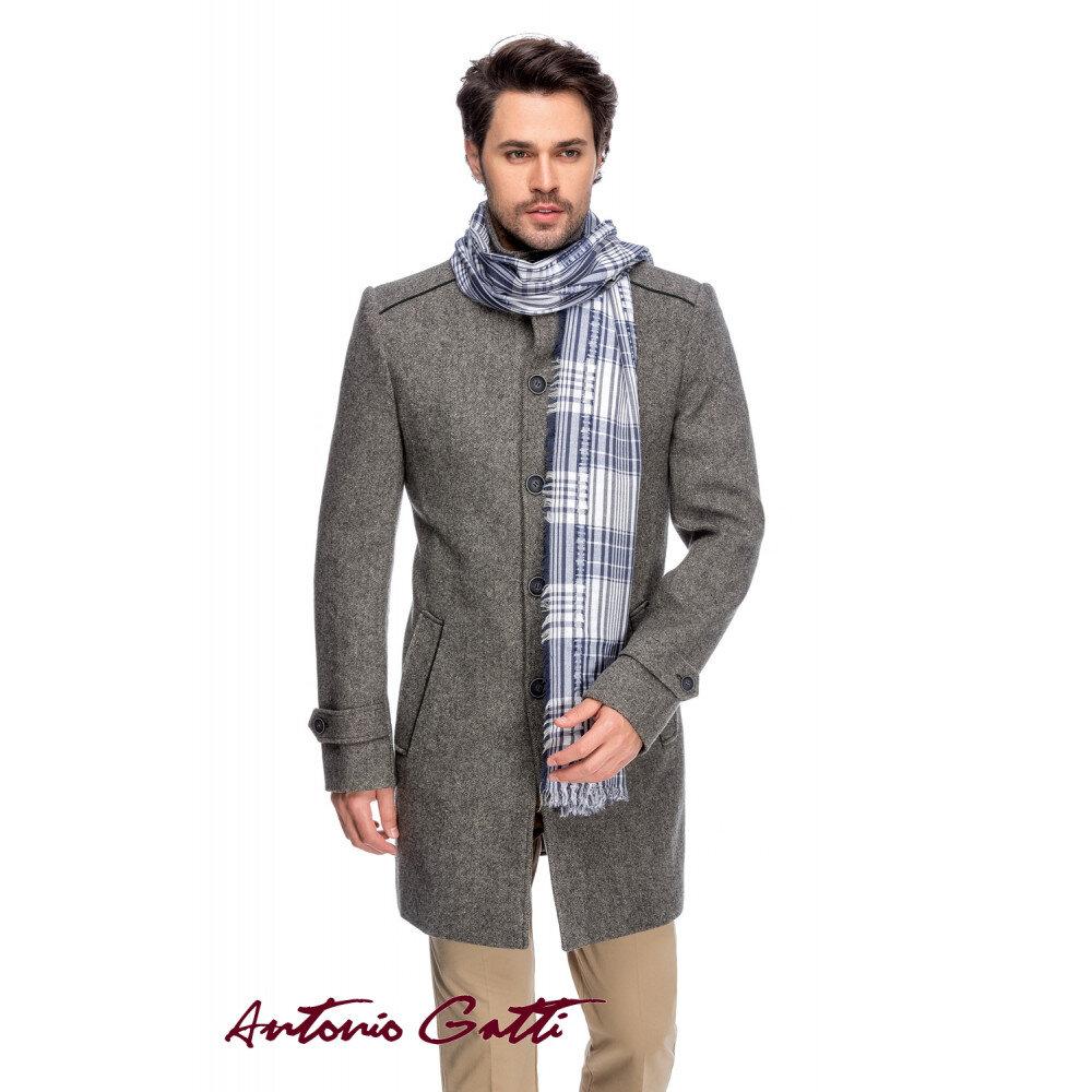 Palton Bărbați Antonio Gatti Gri Lung cu Guler Înalt B158 Sal