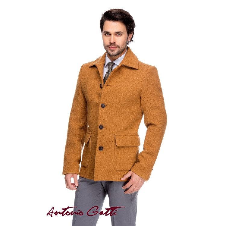 Palton Bărbați Antonio Gatti Cambrat Casual Scurt Galben Mustar B162 Lan15