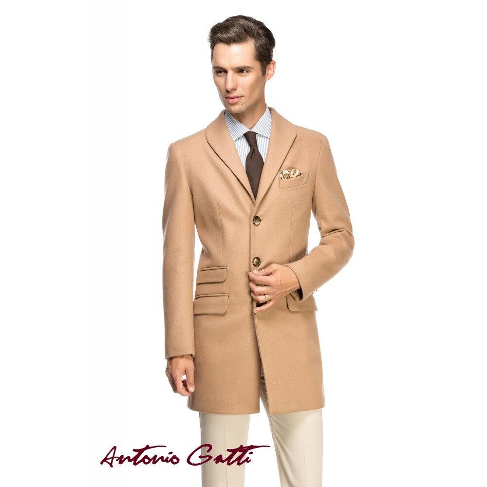 Palton Bărbați Antonio Gatti Elegant Lung din Lana și Cașmir Slim Fit B156 Camel