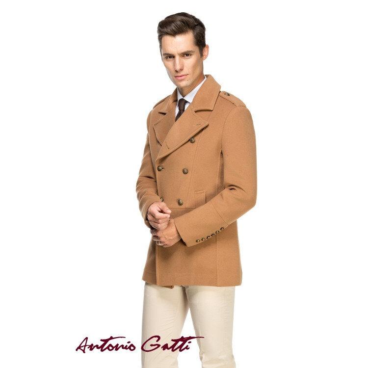 Palton barbati Antonio Gatti scurt smart casual cu doua randuri de nasturi b102 camel