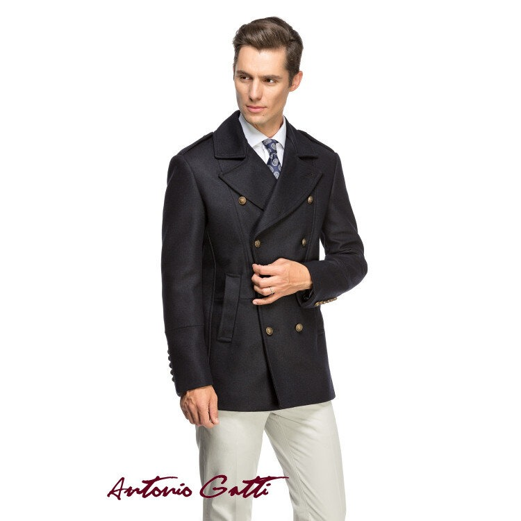 Palton barbati Antonio Gatti scurt smart casual cu doua randuri de nasturi b102 marin