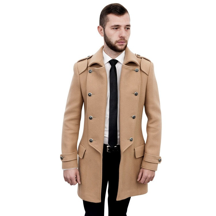 Palton barbati Antonio Gatti smart casual military lung b110 camel