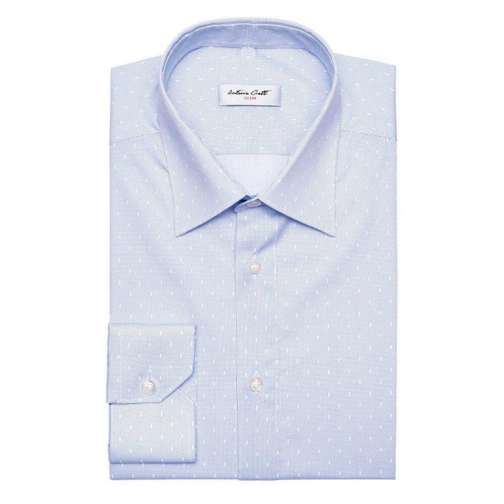 Camasa barbati slim bleu cu print C001SL