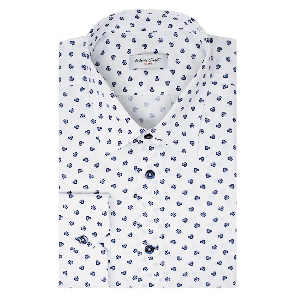 Camasa barbati alba print floral C001SL