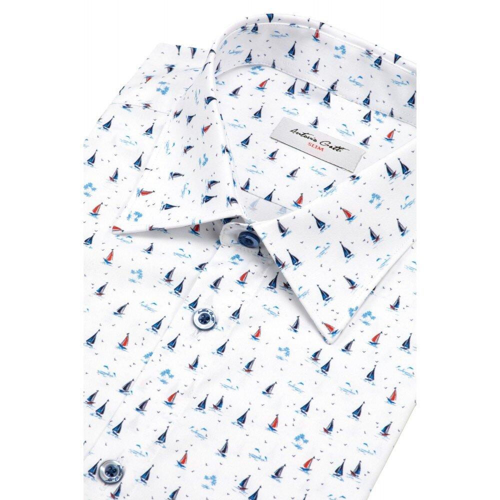 Camasa barbati slim alba cu print C001SL