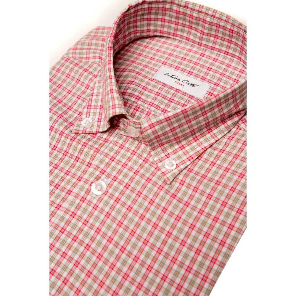 Camasa barbati slim rosie in carouri C003SL