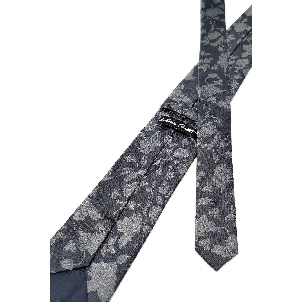 Cravata Matase Gri Cu Flori CR007-126