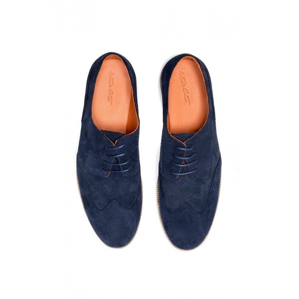 Pantofi barbati bleumarin din piele intoarsa