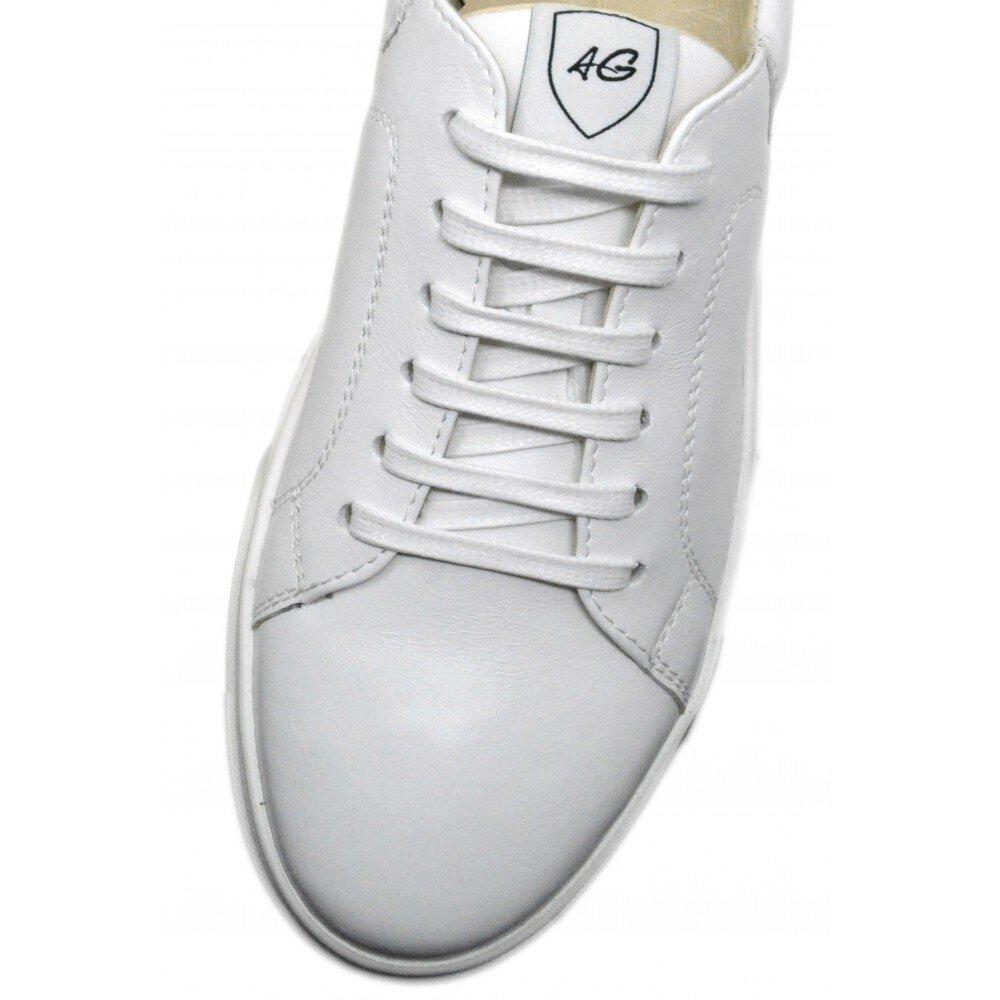 Sneakers barbati albi din piele PA16