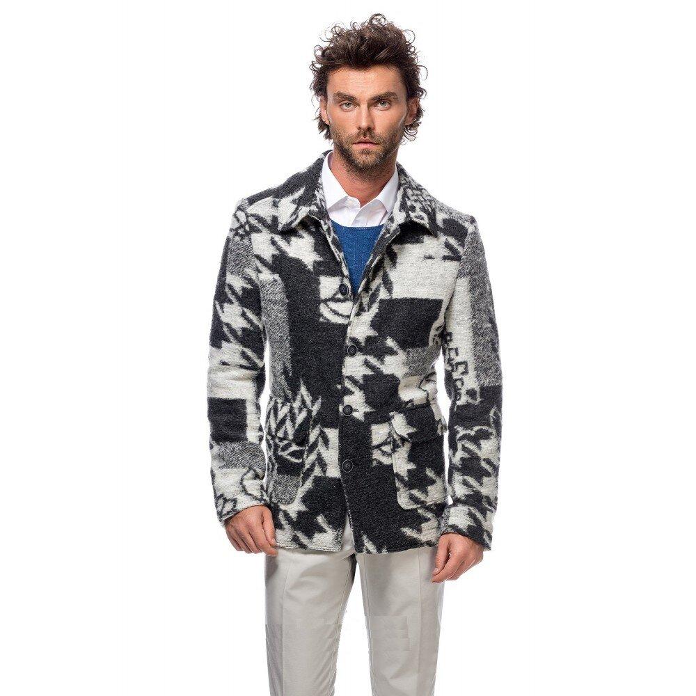 Jacheta barbati din lana cotta in carouri G018