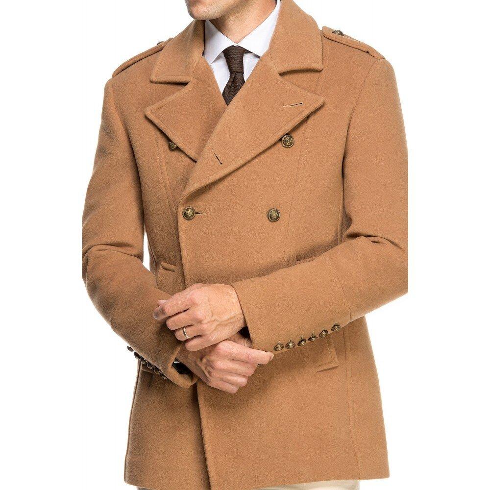 Palton barbati la doua randuri de nasturi camel