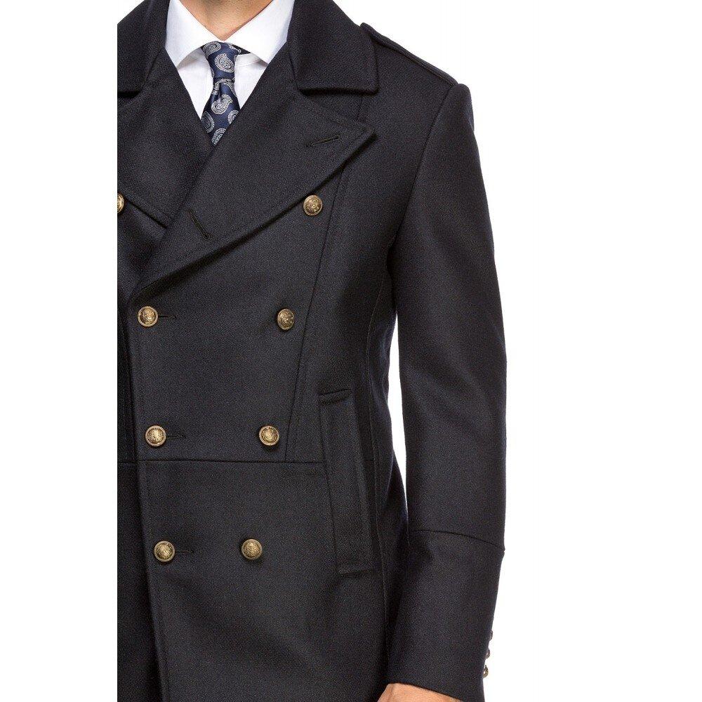 Palton barbati la doua randuri de nasturi bleumarin