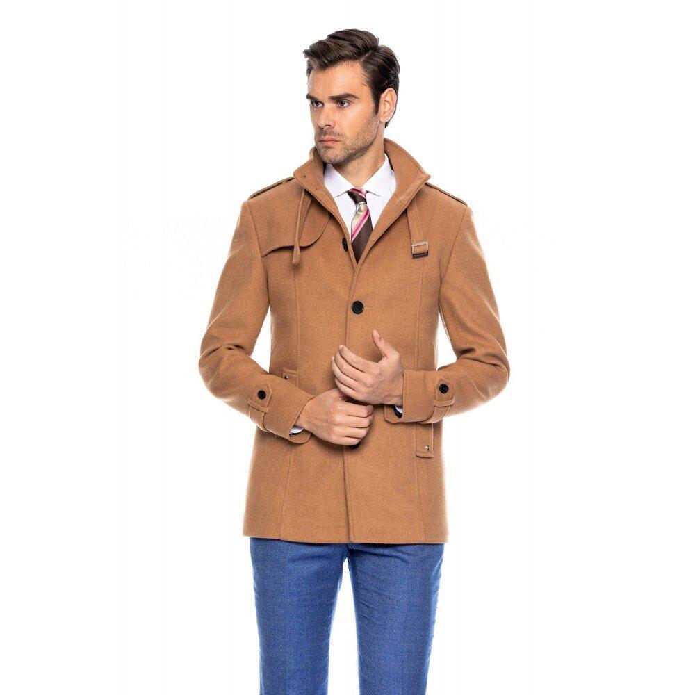 Palton barbati slim camel B108