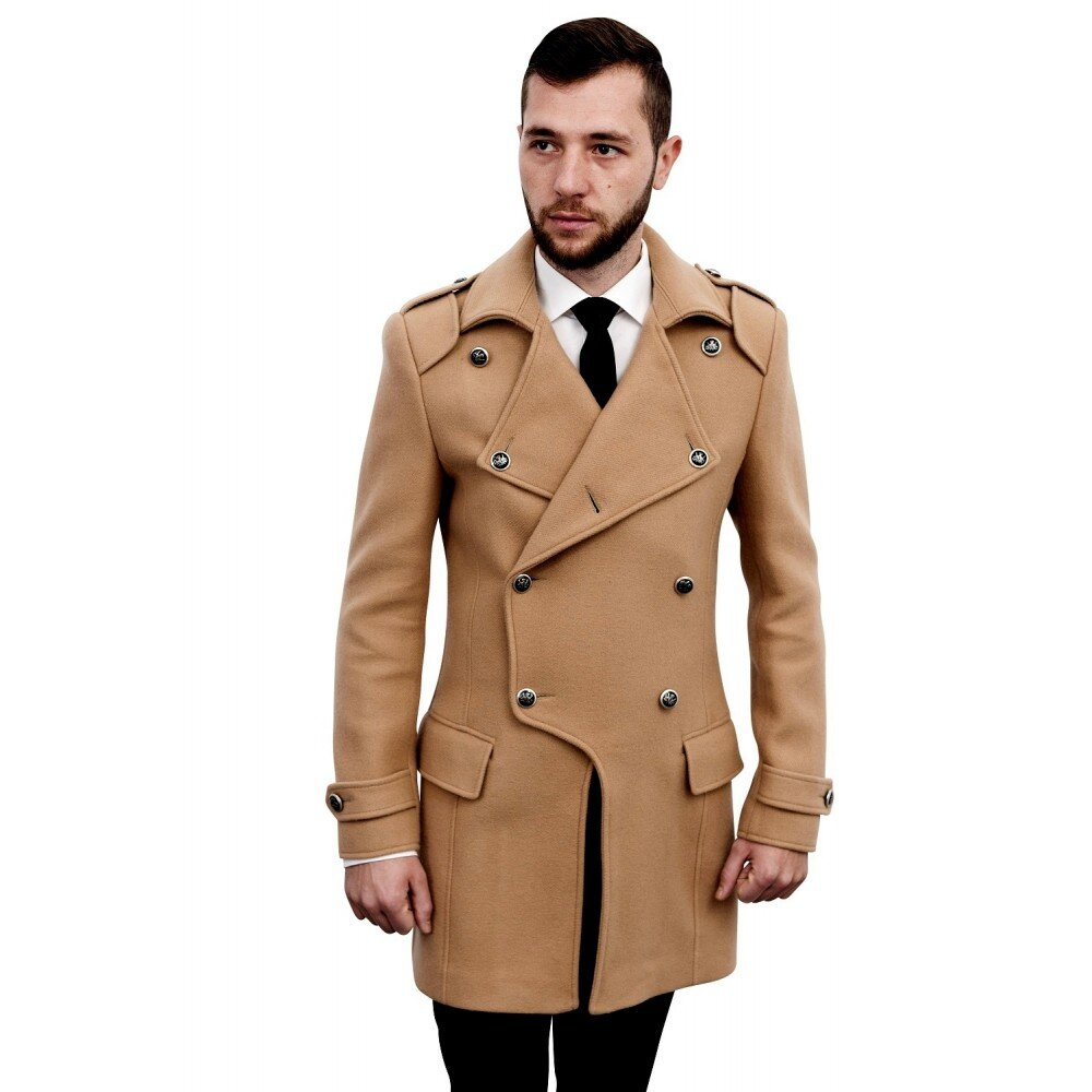 Palton barbati smart casual camel B110
