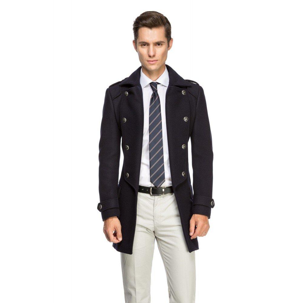 Palton barbati smart casual indigo B110