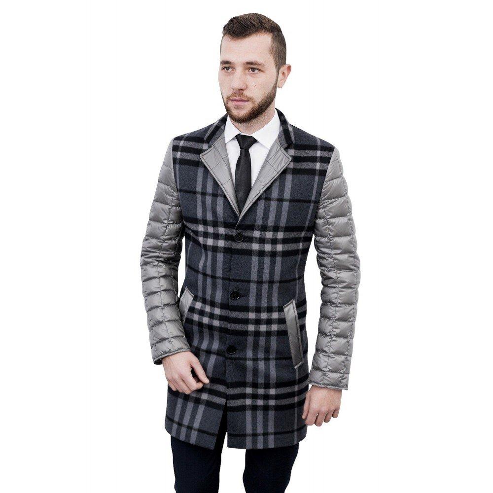 Palton barbati slim gri in carouri B118