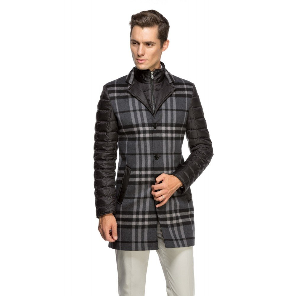 Palton barbati slim negru in carouri B118