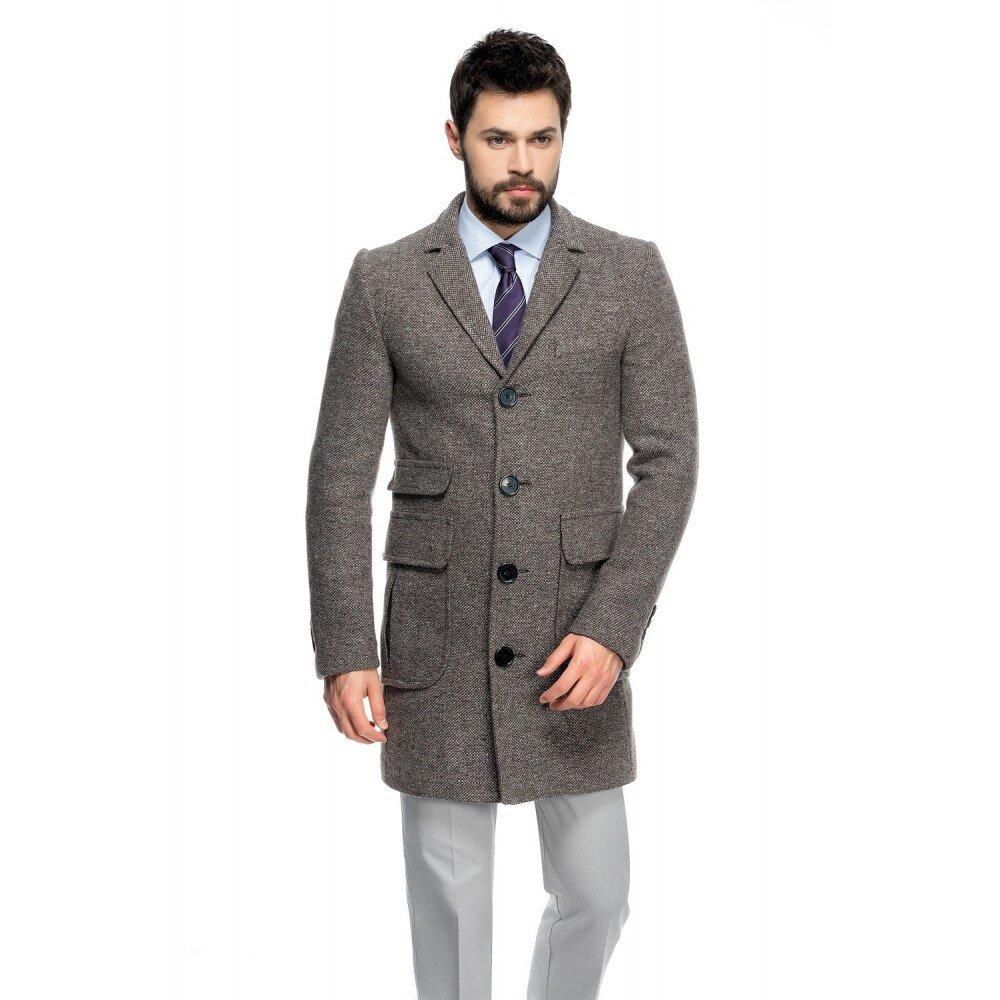 Palton barbati slim gri B125