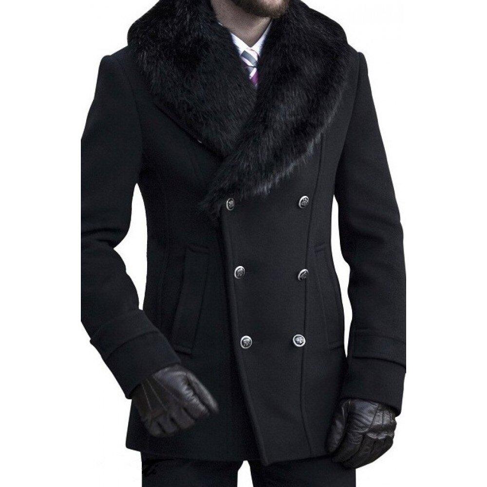 Palton barbati negru cu guler de blana B135
