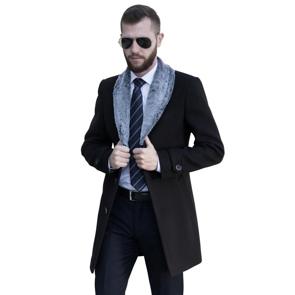 Palton barbati negru cu blana gri B138
