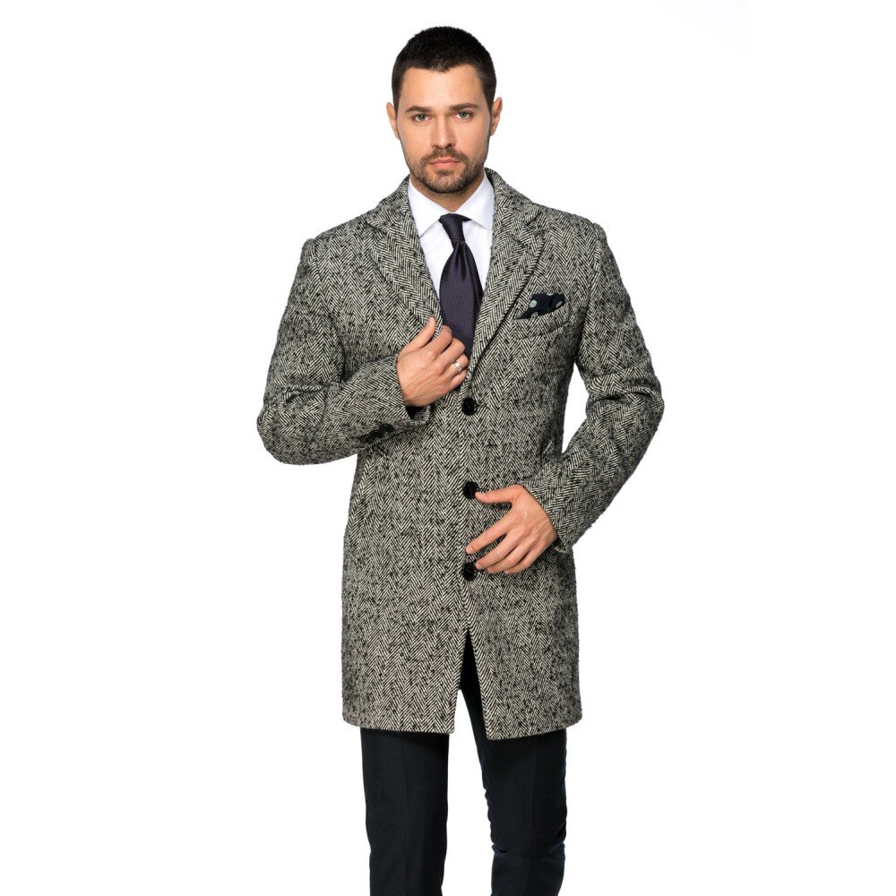 Palton barbati business slim gri bradut B157