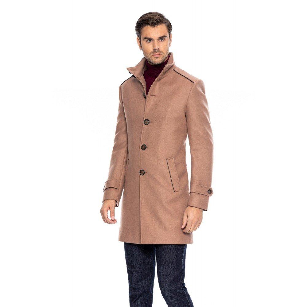 Palton barbati slim camel B158