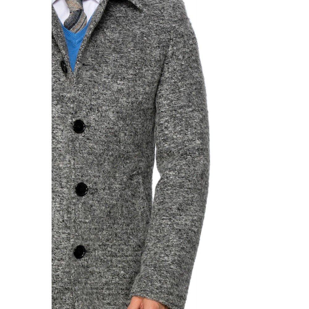 Palton barbati gri din lana cotta B161