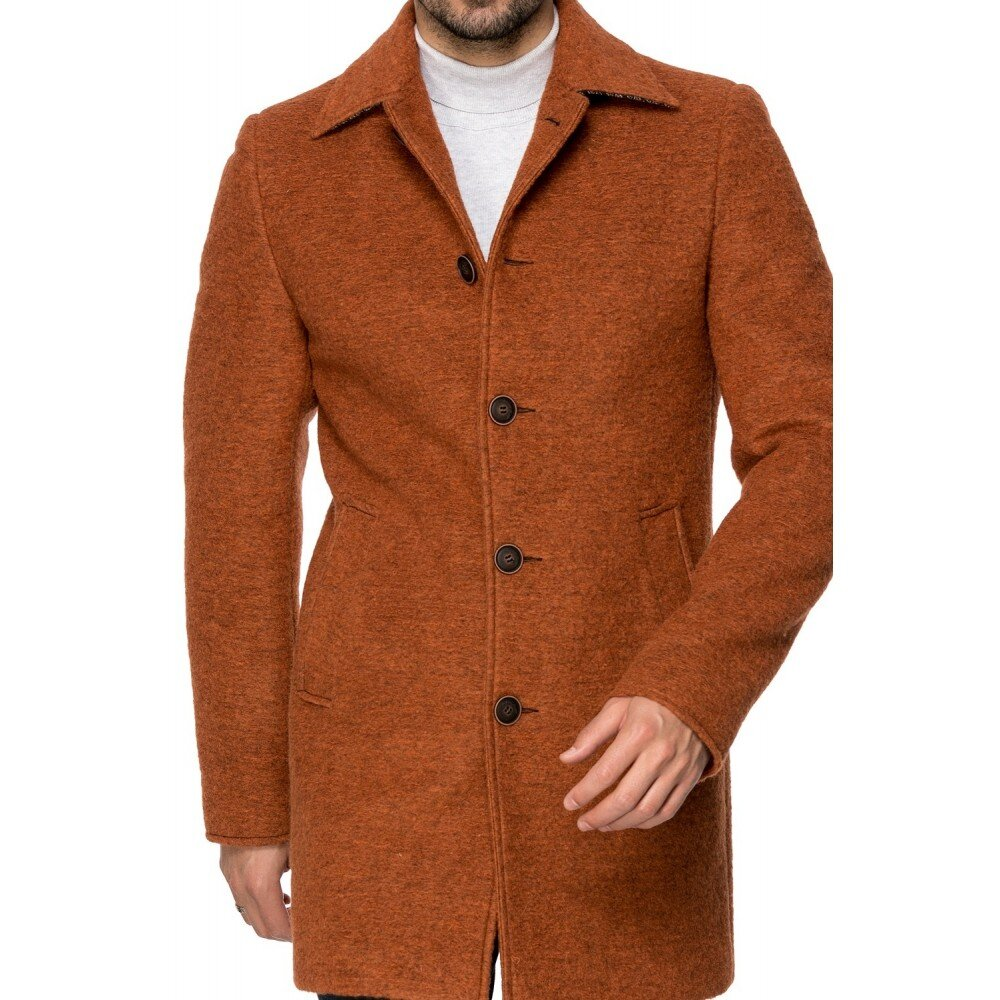 Palton barbati maro din lana cotta B161
