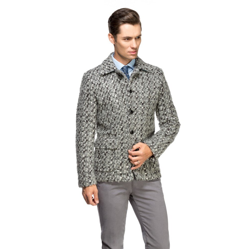 Palton barbati gri din lana cotta