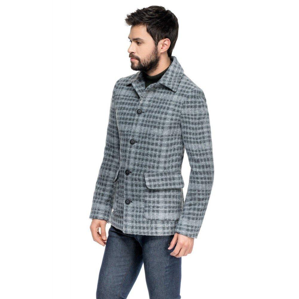 Palton barbati in carouri din lana cotta