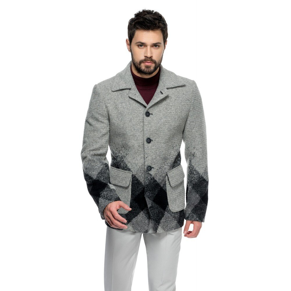 Palton barbati in carouri din lana cotta B162
