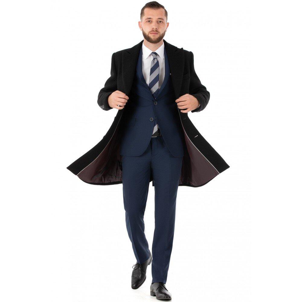 Palton barbati business negru lung B163