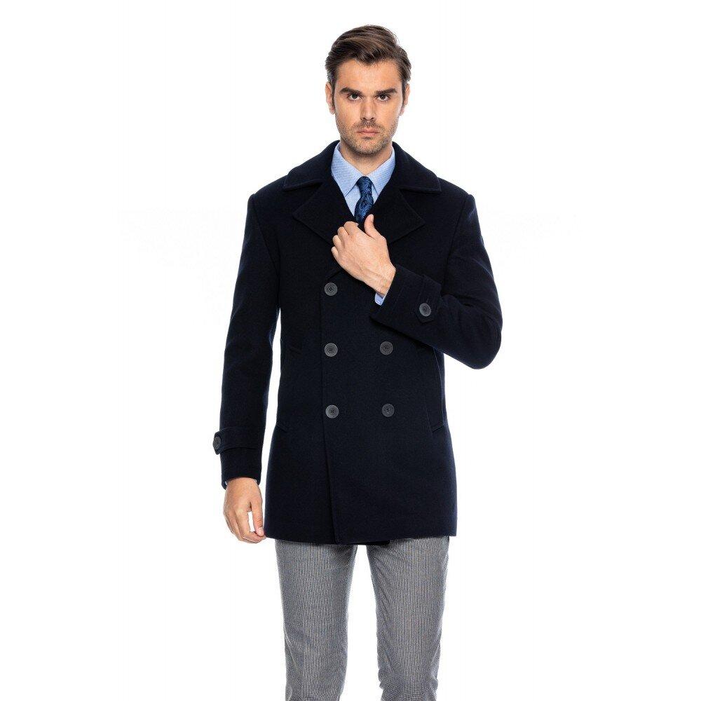 Palton barbati bleumarin la doua randuri de nasturi B170