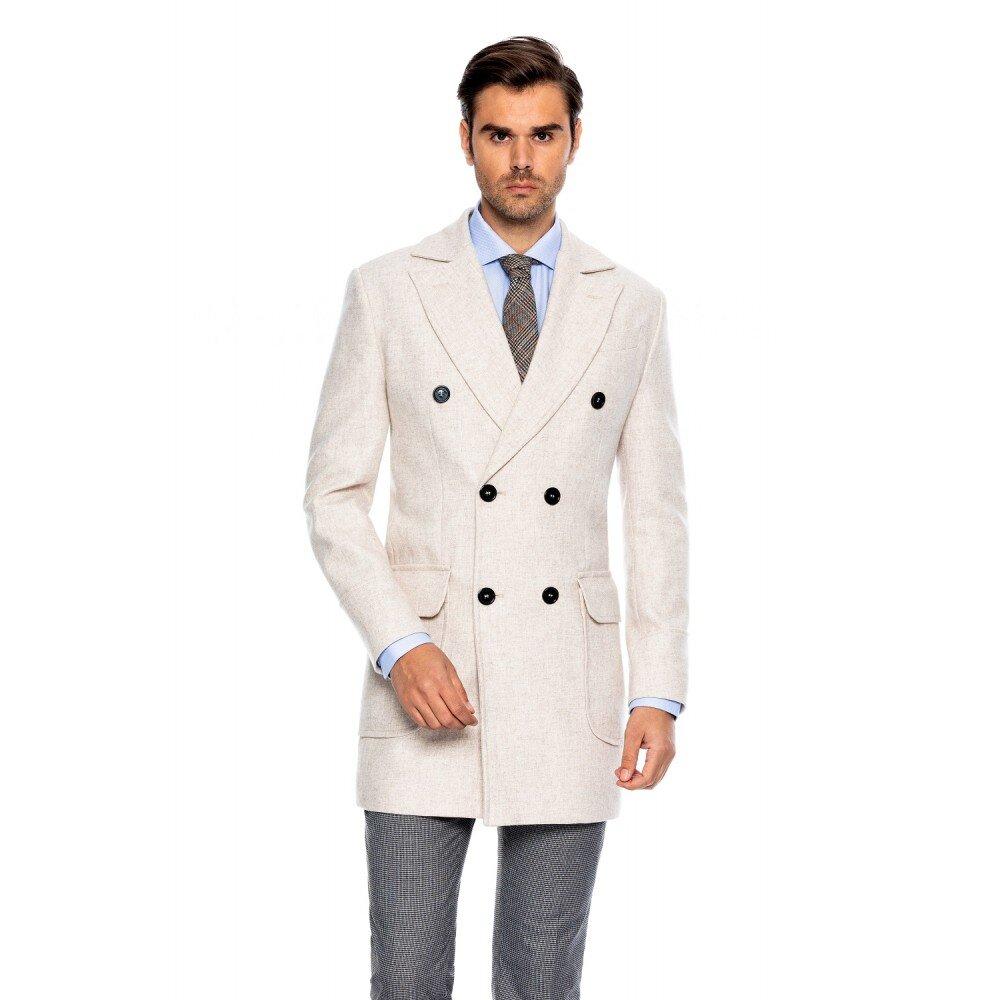 Palton barbati crem la doua randuri de nasturi B171