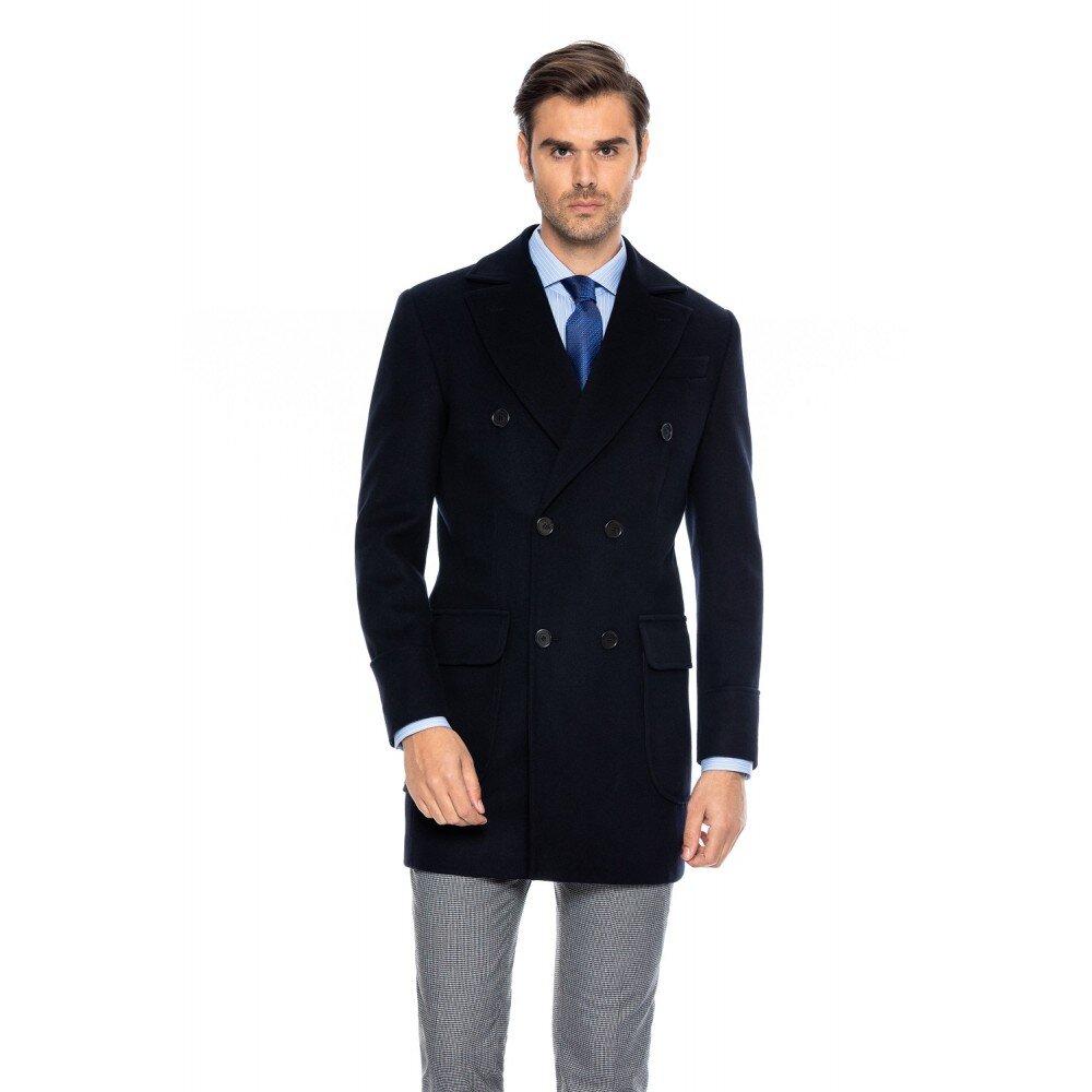 Palton barbati bleumarin la doua randuri de nasturi B171