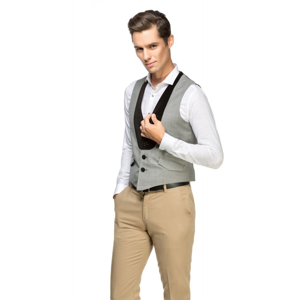 Vesta barbati smart casual gri