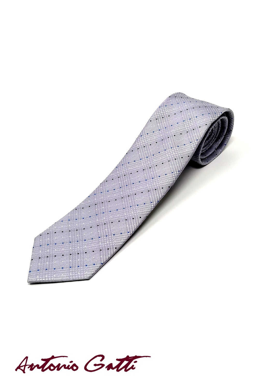 Cravata Matase Gri Cu Buline CR007-104