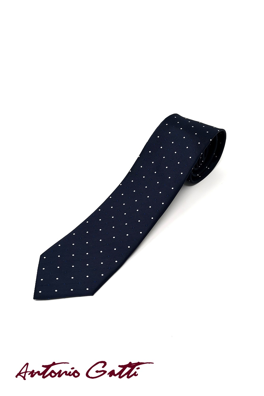 Cravata Matase Bleumarin Cu Buline CR007-122