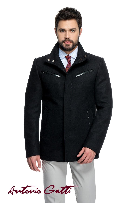 Palton Barbati Smart Casual Scurt cu Fermoar si Capse G020 Negru