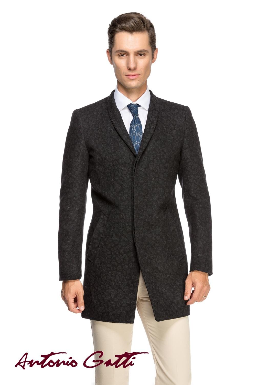 Palton Barbati Negru Elegant Slim Lung B114 Jaq