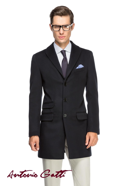 Palton Barbati Elegant Lung din Lana si Casmir Slim Fit B156 Indigo