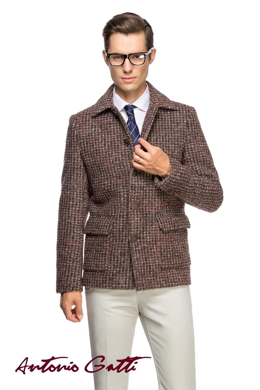 Palton Barbati Casual Scurt din Stofa Multicolora B162 Lan14