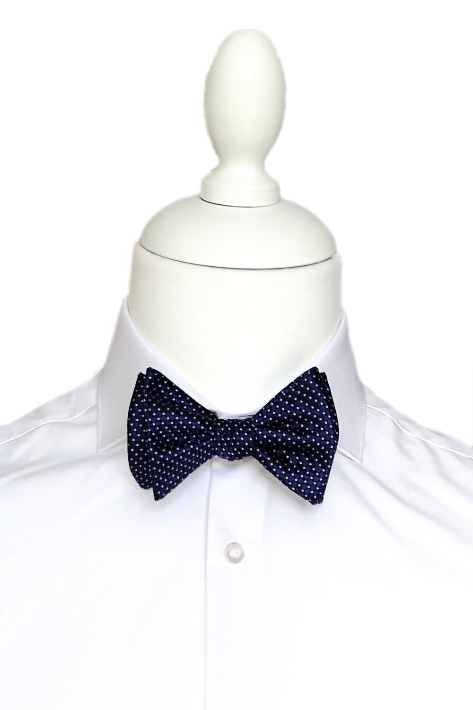Papion Barbati Self Tie Bleumarin cu Buline Matase Z001 103