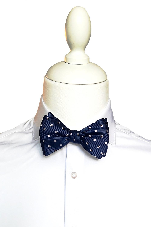 Papion Barbati Self Tie Albastru cu Model Matase Z001 104